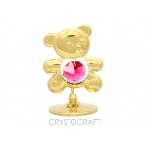 Lācītis ar SWAROVSKI kristāliem, uz pamatnes, zelta pārklājums. Dāvanu iepakojumā.Izmērs 4 х 5 cm.