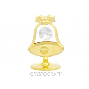 Zvans uz pamatnes ar kristāliem Swarovski,zelta pārklājums. Dāvanu iepakojumā.Izmērs 3,7 x 5,4 cm.