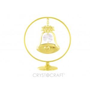 Zvans iekārts ķēdītē aplī, ar SWAROVSKI kristāliem, uz pamatnes, zelta pārklājums. Izmērs 5 x 7 cm.