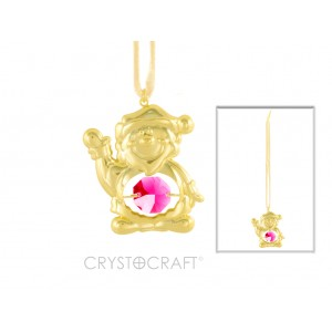 Rūķis iekārts lentītē, ar SWAROVSKI kristāliem, zelta pārklājums. Izmērs 4,5 х 4,5 cm.