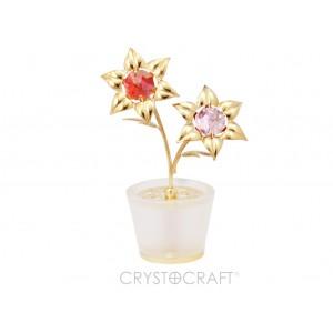 Ziedi podiņā ar SWAROVSKI kristāliem, zelta pārklājums. Izmērs 7 x 10 cm.