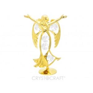 Eņģelis ar SWAROVSKI kristāliem, uz pamatnes, zelta pārklājums. Izmērs 8 x 13 cm.