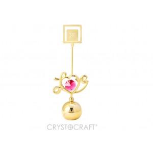 """Uzraksts """"Love"""" ar SWAROVSKI kristāliem, uz lodveida pamatnes, zelta pārklājums. Izmērs 4,5 x 11 cm."""