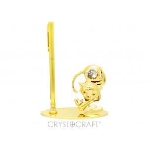 Pildspalvas turētājs ar horoskopa zīmi TĪĢERIS, ar SWAROVSKI kristāliem, zelta pārklājums. Izmērs 10,5 x 4,5 x 14,5 cm.