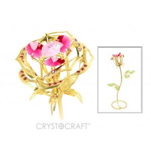 Roze ar SWAROVSKI kristāliem, uz pamatnes, zelta pārklājums. Izmērs 6 x 6 x 22 cm