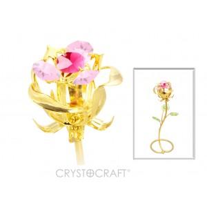 Roze pumpurā ar SWAROVSKI kristāliem, uz pamatnes, zelta pārklājums.
