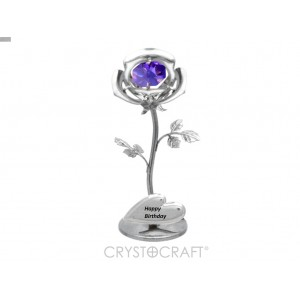 Mini Roze ar violetu SWAROVSKI kristālu, hroma pārklājums. Izmērs 3x3x8 cm. Dažādi uzraksti.