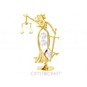 Temīda -Taisnīguma dieviete ar SWAROVSKI kristāliem, uz pamatnes, zelta pārklājums. Izmērs 8 x 11 cm.