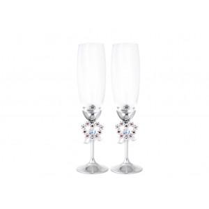 .Šampanieša glāzes ar Swarovski kristāliem, hroma pārklājums. Augstums 24cm