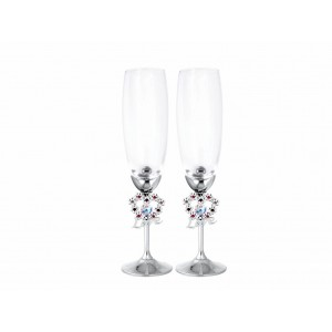 Šampanieša glāzes ar Swarovski kristāliem, hroma pārklājums. Augstums 24cm