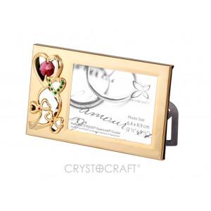 Fotorāmītis ar SWAROVSKI kristāliem, zelta vai sudraba pārklājums. Izmērs 14 x 8 cm.  Fotogrāfijas izmērs: 6,4*8,9.