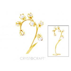 Maijpuķīte, daiļas izliektas formas ar kristāliem SWAROVSKI, zelta pārklājums. Izmērs 22x10x7  cm.