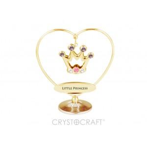 """KRONIS  sirdī uz pamatnes, ar uzrakstu  """"LITTLE PRINCESS"""" un krāsainiem Swarovski kristāliem, izmērs 7 x 8 cm"""