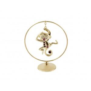 Pērtiķis - 2016. gada simbols -Pērtiķis aplī ar SWAROVSKI kristāliem, zelta pārklājums, izmērs 7*8 cm