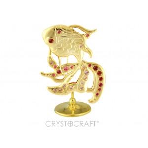 Zelta zivtiņa ar SWAROVSKI kristāliem,zelta pārklājums,izmērs 6*8 cm.
