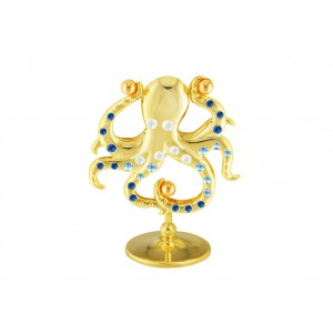 Astoņkājis ar SWAROVSKI kristāliem, uz pamatnes, zelta pārklājums. Izmērs 6 x 7,1 cm.
