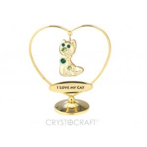 """KAĶIS iekārts ķēdītē sirdī ar uzrakstu """"I LOVE MY CAT"""", ar SWAROVSKI kristāliem, zelta pārklājums. Izmērs 7 x 8 cm."""