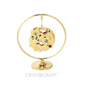 Zodiaka zīme AUNS iekārts ķedītē aplī ar SWAROVSKI kristāliem