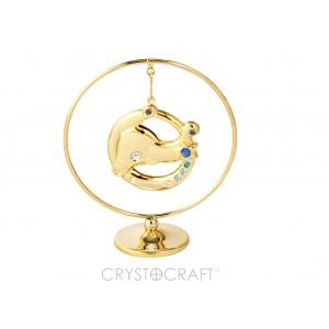 Zodiaka zīme VĒRSIS iekārts ķedītē aplī ar SWAROVSKI kristāliem, uz pamatnes, zelta pārklājums, izmērs 7,1 x 8 cm.
