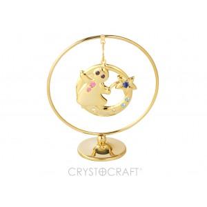 Zodiaka zīme JAUNAVA iekārts ķedītē aplī ar SWAROVSKI kristāliem, uz pamatnes, zelta pārklājums, izmērs 7,1 x 8 cm.