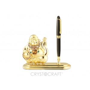 Pildspalvas turētājs ar Buddu, ar krāsainiem SWAROVSKI kristāliem un lielo dzelteno. Izmērs 15 x 5 x 18 cm.