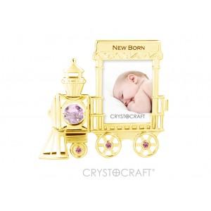 Fotorāmitis ar SWAROVSKI kristāliem,ar ierakstu NEW BORN ,zelta pārklājums. Izmērs 9 x 9 cm. Foto izmers 4 х 5.5 cm.
