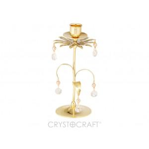 Svečturis ar SWAROVSKI kristāliem, zelta pārklājums. Izmērs 8 x 8 x 18 cm.