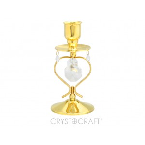 Svečturis ar SWAROVSKI kristāliem, zelta pārklājums. Izmērs 6 x 6 x 12,5 cm.