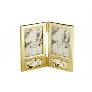 Fotorāmītis ar SWAROVSKI kristāliem, divdaļīgais, zelta pārklājums.Izmērs 16,5x14 сm.  Fotogrāfijas izmērs: 6,4*8,9.